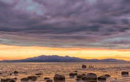 Arran Hills and a rocky beach in late afternoon royalty free stock photography