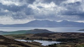 Arran Mountains, from Fairlie Moor Road in Scotland and in Time-lapse. The Arran Mountains looking over the course moorland of fairly Moor Road over the stock footage