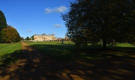 Arrancar as árvores e as sombras de Silsoe Bedfordshire do parque bonitas em um dia ensolarado Fotografia de Stock