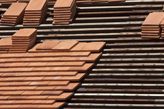 Arrange asian roof tiles. In construction site Stock Images