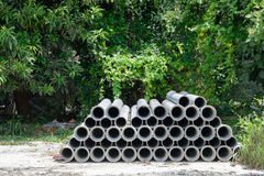 Arrange of cement pipe Royalty Free Stock Image