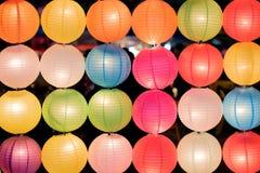 Arrange of colorful chinese lantern Stock Image