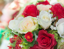 Arranged artificial rose flower bouquet close up Royalty Free Stock Images