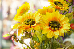 Arranged artificial sun flower bouquet Royalty Free Stock Image
