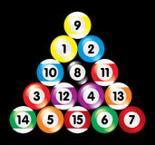 Arranged billiard balls on black background Stock Photography
