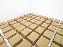 Arranged cardboard boxes Royalty Free Stock Images
