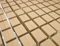 Arranged cardboard boxes Stock Photo