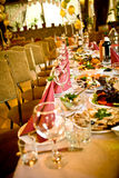 Arranged celebration table Stock Photo