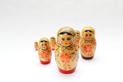 arranged close doll family hand like looking matryoshka nested painted together unique upwards which white wooden Arkivfoton
