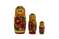 arranged close doll family hand like looking matryoshka nested painted together unique upwards which white wooden 免版税库存图片