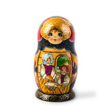 arranged close doll family hand like looking matryoshka nested painted together unique upwards which white wooden 库存照片