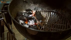 Arranged coals selective focus ready for barbecue. Catering, briquet. royalty free stock photography