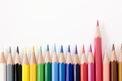 Arranged the color pencils on white background Stock Image