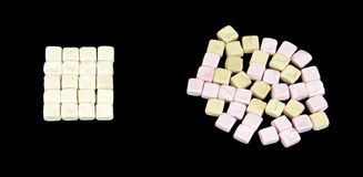 Arranged colored marshmallows Royalty Free Stock Photo