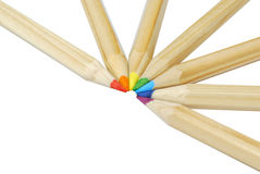 Arranged crayons Royalty Free Stock Image