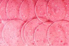 Arranged cuts of beef sausage Royalty Free Stock Photo