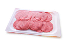 Arranged cuts of  sausage Royalty Free Stock Photo