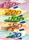 Arranged euro banknotes Royalty Free Stock Photography