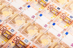 Arranged euro banknotes Royalty Free Stock Image