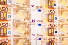Arranged euro bills Stock Photo