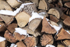 Arranged firewood for winter heating season Royalty Free Stock Photos