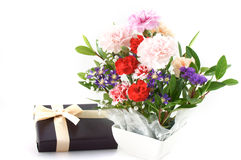 Arranged flower. With gift box Stock Image