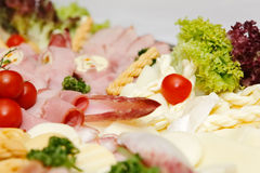 Arranged meat and chees products Royalty Free Stock Images