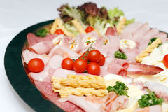 Arranged meat and chees products Stock Image