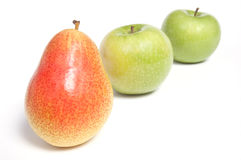 Arranged pear and green apples Stock Photo