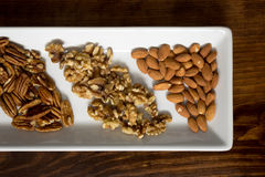 Arranged Pecans, Walnuts, and Almonds on White Tray, Close Royalty Free Stock Photography