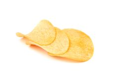 Arranged potato chips isolated. Stock Photo