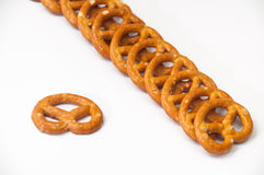 Arranged pretzels on a white background Royalty Free Stock Images
