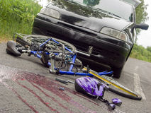 Arranged scene of bicycle accident Royalty Free Stock Photography