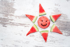 Arranged slices of watermelon Royalty Free Stock Images