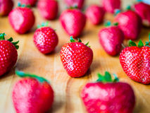 Arranged strawberries on a wooden board. Arranged fresh strawberries on a wooden board Royalty Free Stock Image