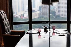Arranged table for 2 in a fine dining restaurant stock image