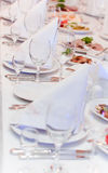 Arranged table with food Royalty Free Stock Photography