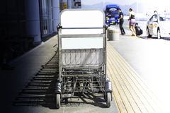 Arranged trolley. In the airport Royalty Free Stock Image