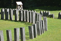 Arranged vertical wooden pieces at the Sarmizegetusa Regia Sanctuaries Stock Photos