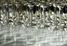 Arranged wineglasses upside down Royalty Free Stock Image