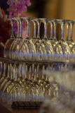 Arranged wineglasses upside down Royalty Free Stock Photography