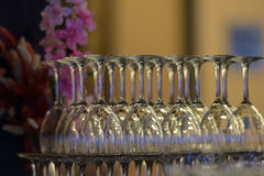 Arranged wineglasses upside down Royalty Free Stock Photo