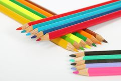 Arranged wooden color pens Stock Photos