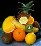 Arrangement. Assorted fruits grouped on table stock image