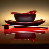Arrangement. Of bowl,spoon,chopstick and plate in zen feel royalty free stock photography