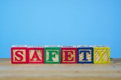 Arrangement of alphabet with safety and health concept. Stock Photo