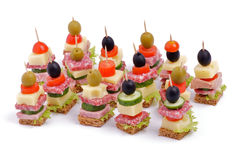 Arrangement of Appetizers Stock Images