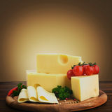Arrangement with appetizing cheese Stock Photo