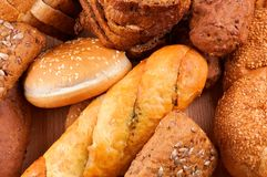 Arrangement of baked bread and rolls Royalty Free Stock Images