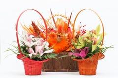 Arrangement of beautiful fresh flowers in wooden basket Stock Photos